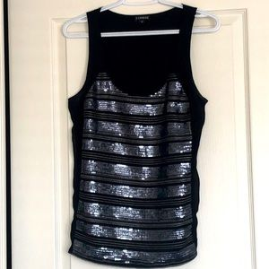 Silver sequinned black tank top